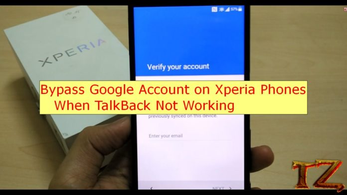 FRP bypass Xperia phones when TalkBack not working